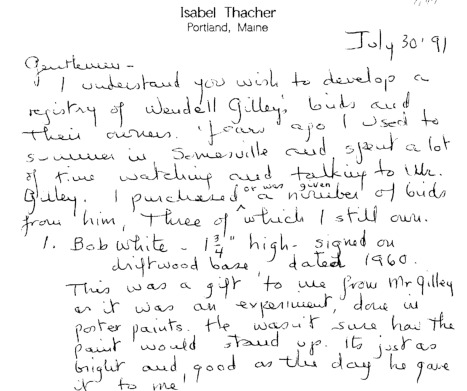 Letter to Wendell Gilley Museum from Isabel Thacher