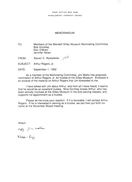 Letter from Steven C. Rockefeller to Members of the Wendell Gilley Museum Nominating Committee