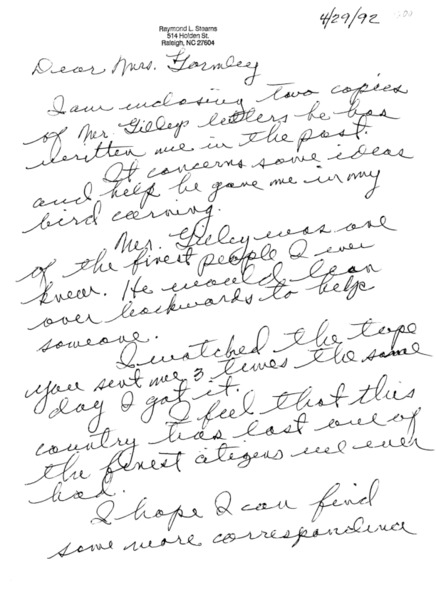 Letter from Raymond L. Stearns to Nina Gormley