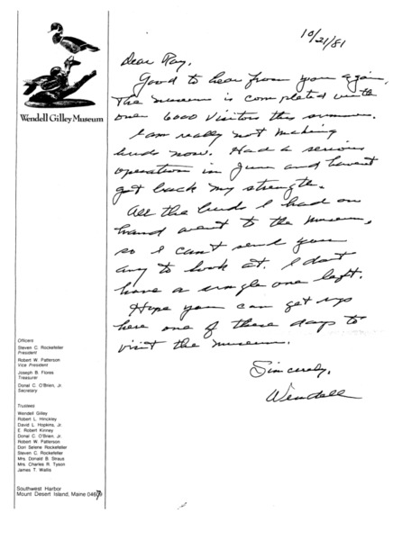 Letter to Raymond L. Stearns from Wendell Gilley