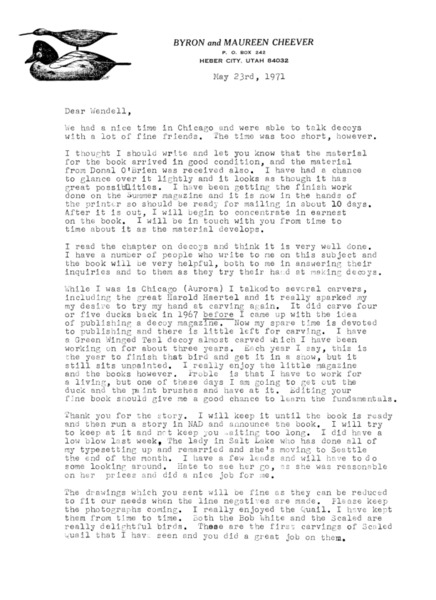 Letter to Wendell H. Gilley from Byron Cheever