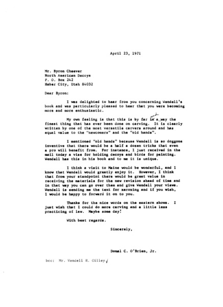 Letter to Byron Cheever from Donal C. O'Brien, Jr.