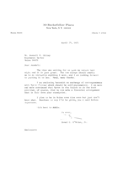 Letter to Wendell H. Gilley from Donal C. O'Brien, Jr.