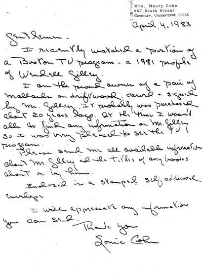 Letter to the Wendell Gilley Museum from Sonia Cohn, Apr. 4, 1983
