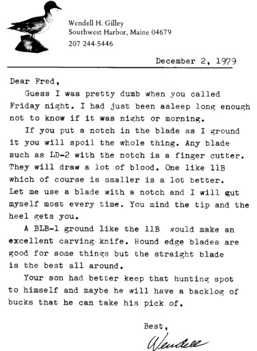 Letter from Wendell H. Gilley to Fred Clark, December 2, 1979
