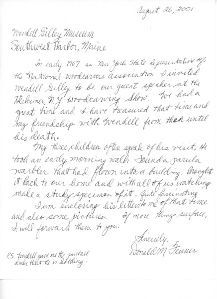 Letter to Wendell Gilley Museum from Donald M. Fenner, August 26, 2001