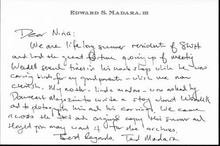 Note from Ted Madara to Nina Gormley
