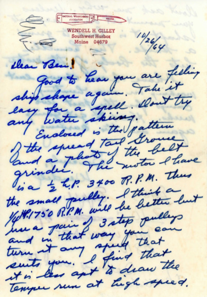 Letter from Wendell H. Gilley to Capt. Benjamin H. Rigg, Oct. 26, 1964