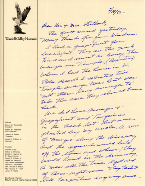 Letter from Wendell H. Gilley to Mr. and Mrs. Foster B. Whitlock, February 19, 1982