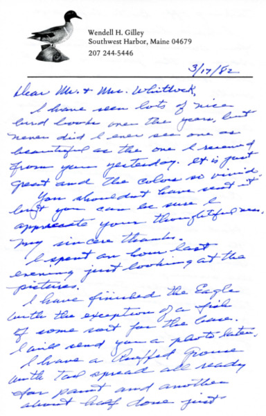 Letter from Wendell H. Gilley to Mr. and Mrs. Foster B. Whitlock, March 17, 1982