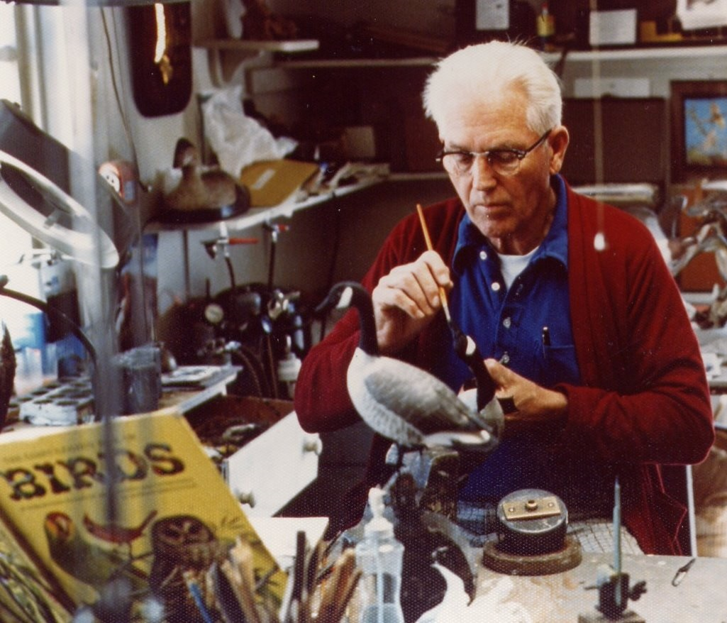 Wendell Holmes Gilley at Work on a Goose
