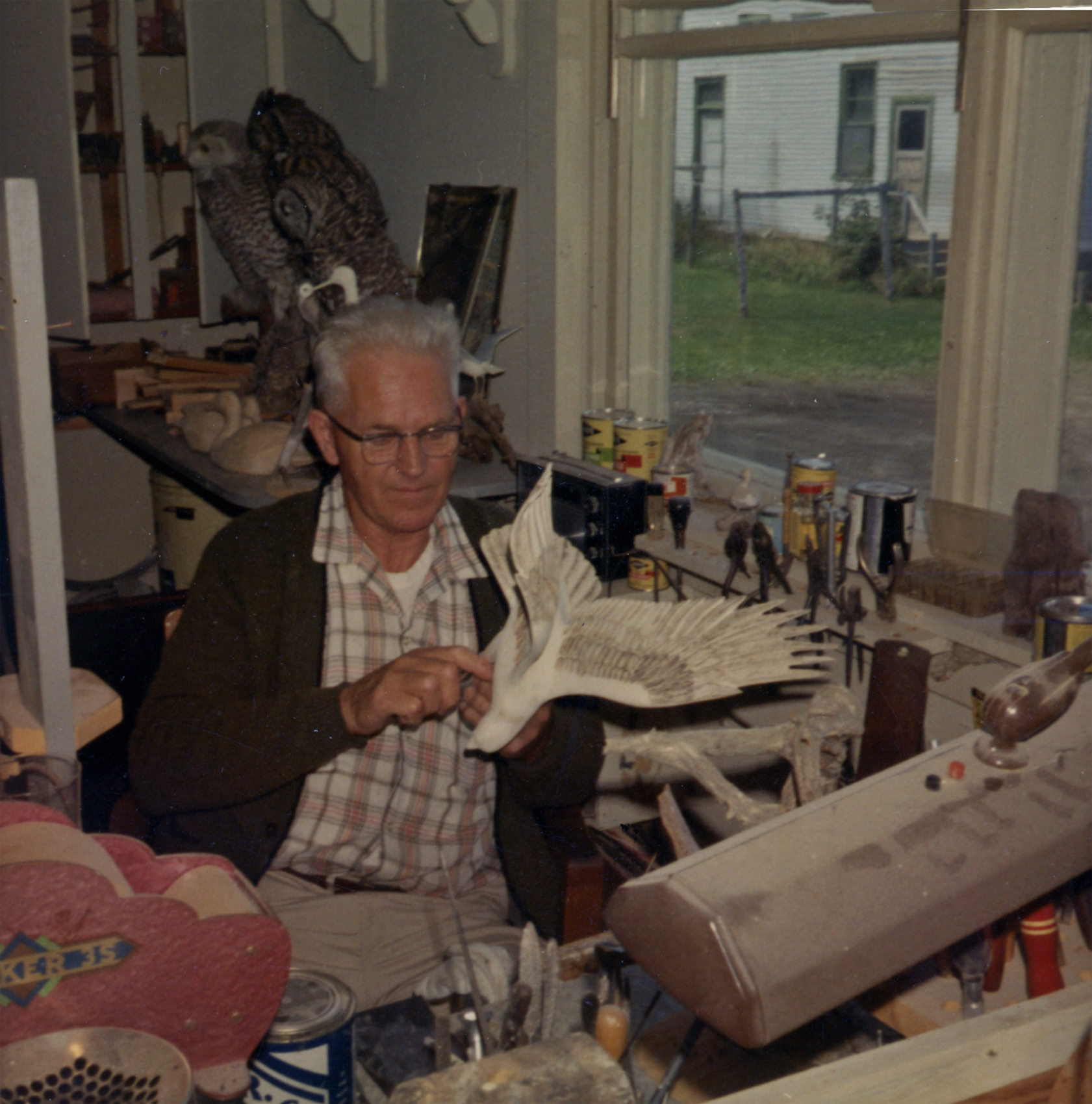 Wendell H. Gilley in his workshop - Oct. 1971