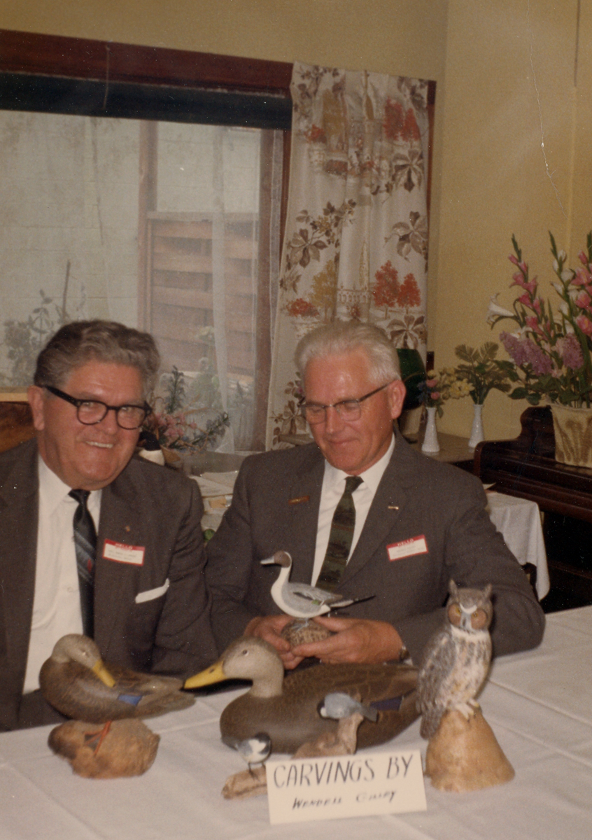 Ed Moore and Wendell Gilley at the National Woodcarvers Association Meeting, Herkimer, N.Y., May 1967.