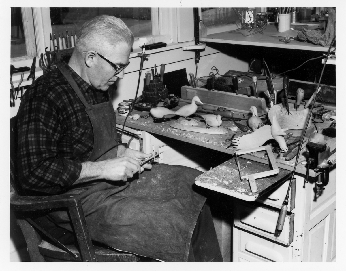 Wendell H. Gilley in his workshop