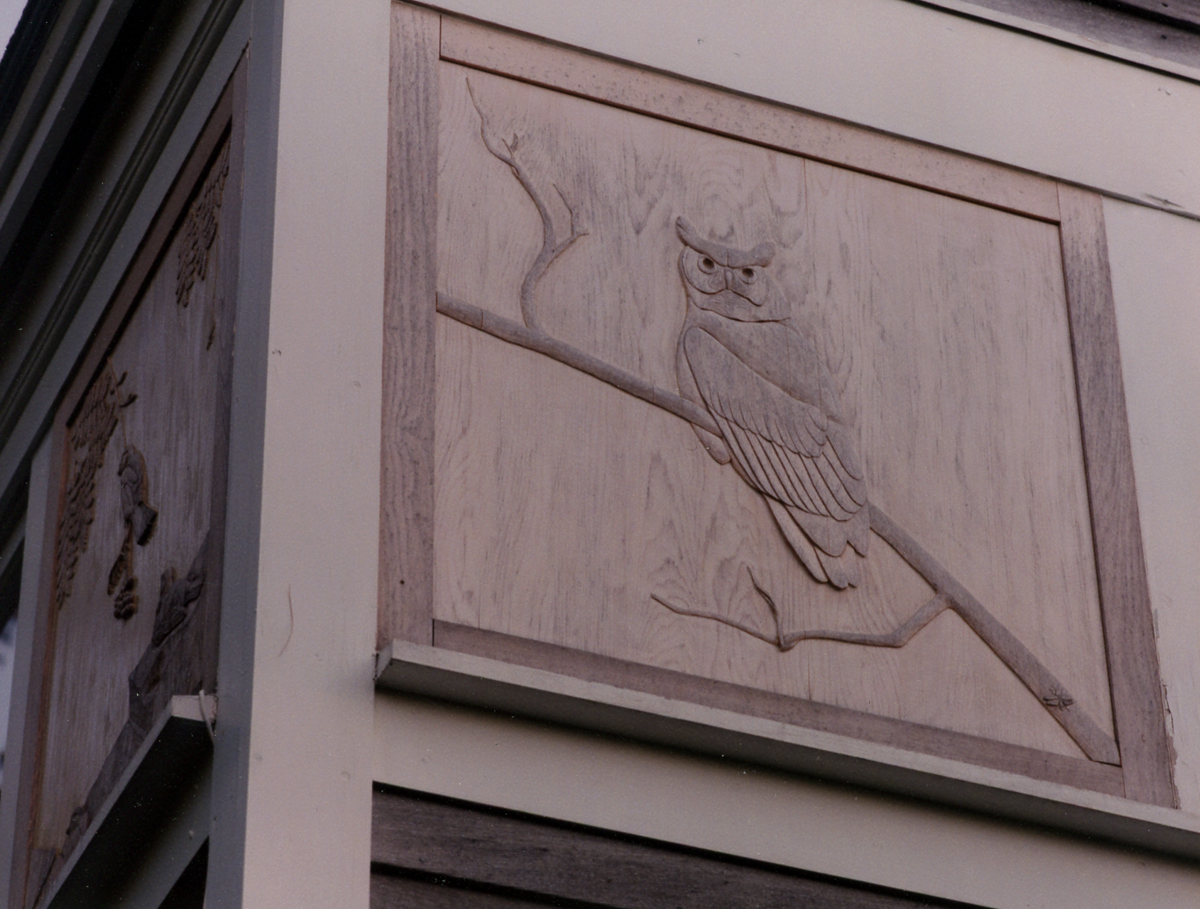 Owl relief on side of Wendell Gilley Museum building